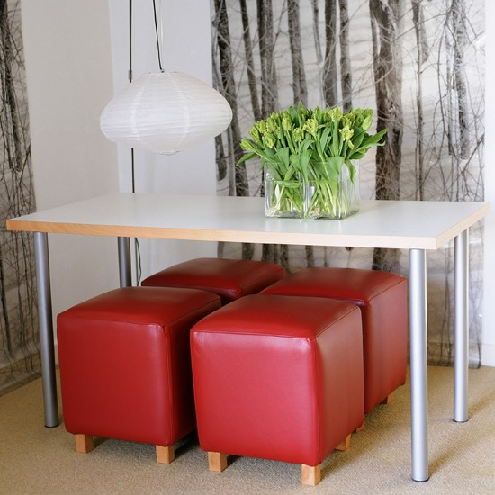 Space saving stools dining room storage ideas storage for Small dining room storage ideas
