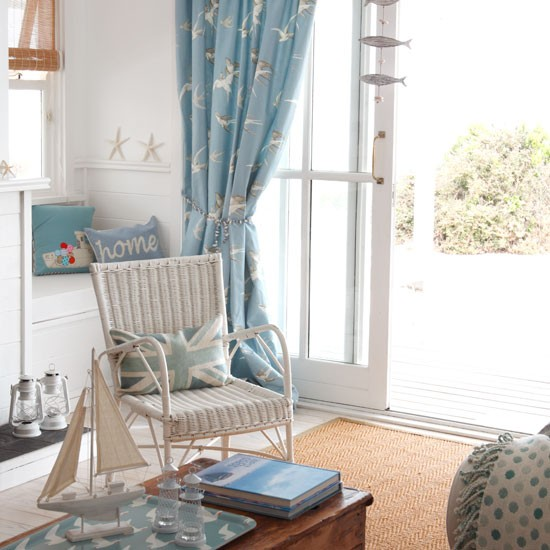 Seaside living room | Living room designs | Patterned curtains ...
