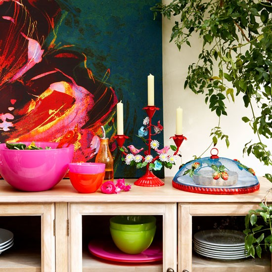 Colourful dining room | Dining room sideboard | image