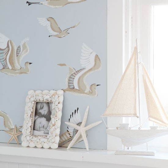 Seaside-inspired wallpaper | Living room | Image | Housetohome.co.uk
