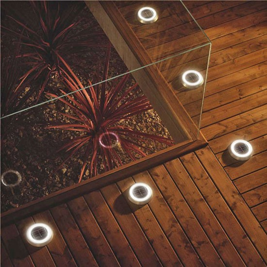 Solar powered ring deck lights from b q solar powered for Garden decking lights uk