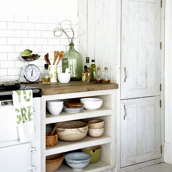 Open Shelf Kitchen Cabinet: Rustic Kitchen Storage