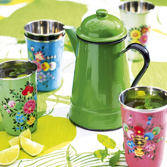 Colourful garden tea set
