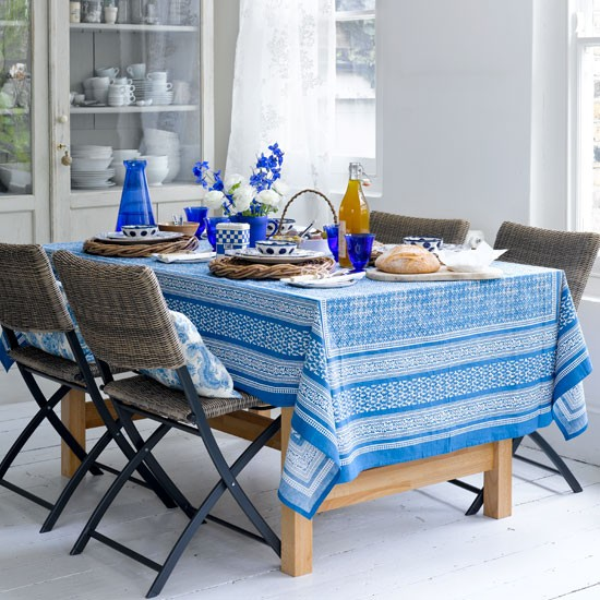 Blue and white kitchen-diner | Fresh dining room designs | Image | Housetohome.co.uk