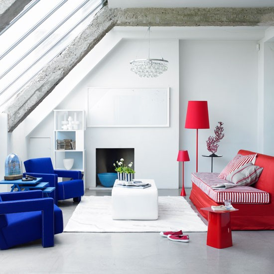 Contemporary French-inspired living room | Colourful sofas | Image | Housetohome.co.uk