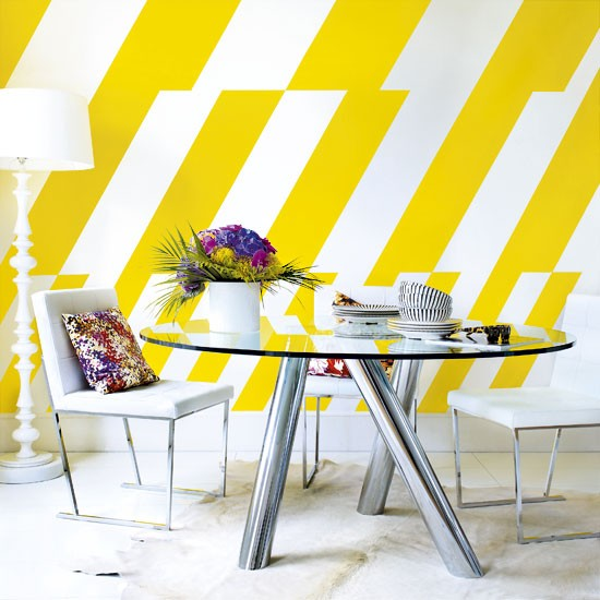 Modern dining room with painted yellow stripes | Sunshine yellow ...