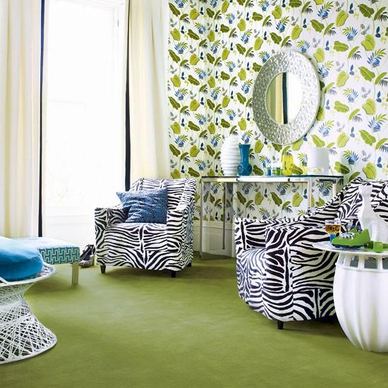 Palm Springs-inspired living room   Living room wallpaper   Image   Housetohome.co.uk