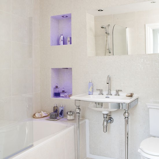 Small bathroom lighting Tiny bathroom designs uk