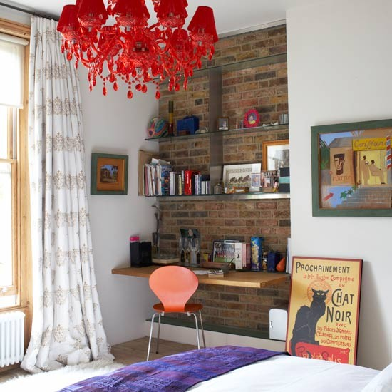 Bare brick wall alcove teenage girls bedroom ideas Teenage small bedroom ideas uk