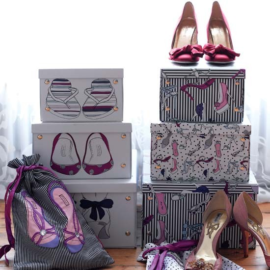 Funky shoe box storage | Bedroom ideas for teenage girls | Decorating