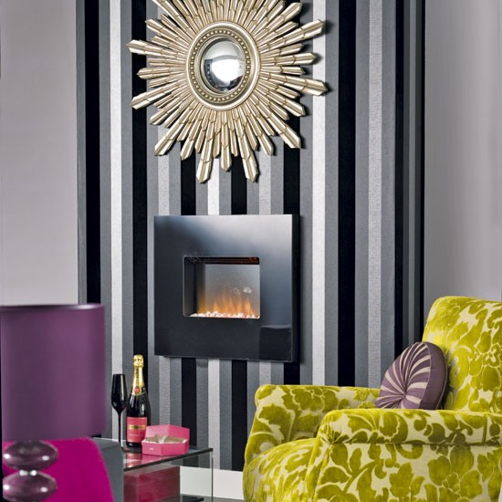 Contemporary living room fireplace | Living room wallpaper | Image | Housetohome.co.uk