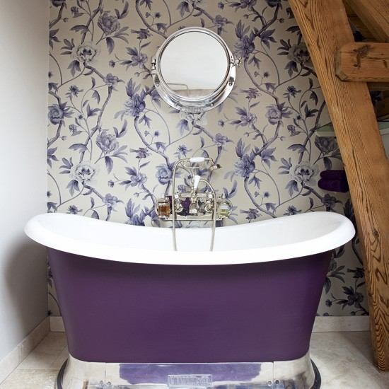 Opulent bathroom with purple accents | colourful bathroom ideas | bathroom ideas | PHOTO GALLERY | Housetohome.co.uk