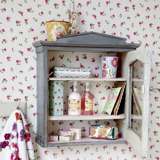 Vintage bathroom unit and floral wallpaper | Vintage bathroom ideas - 10 of the best | Bathroom | design | PHOTO GALLERY | Housetohome.co.uk