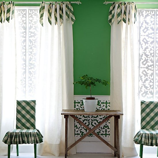 Green and white living room | Living room designs | image