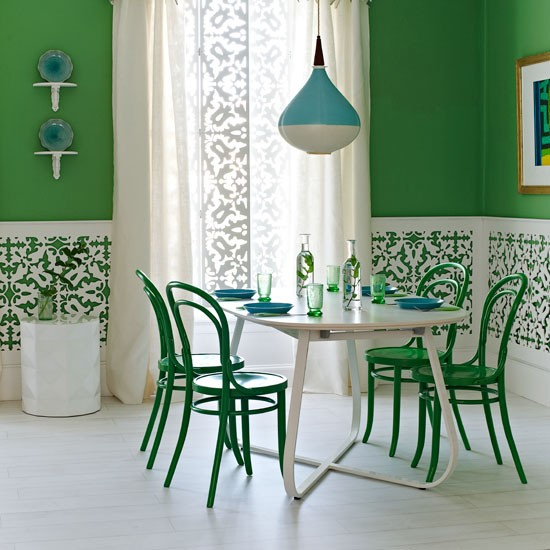 Bold green dining room | Dining room designs | image