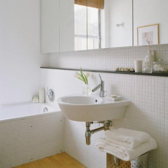 White tiled bathroom | Mirrored units | Image | Housetohome.co.uk