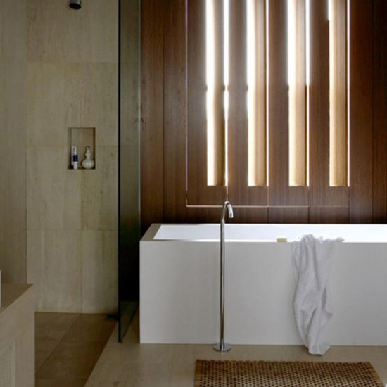 Contemporary bathroom with wooden shutters | Bathroom | image