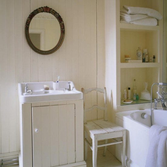 Country Style Bathroom White Paint Walls Image