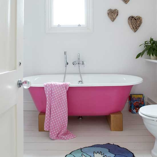 Bathroom with pink bath bathroom ideas modern decor - Pink bathtub decorating ideas ...