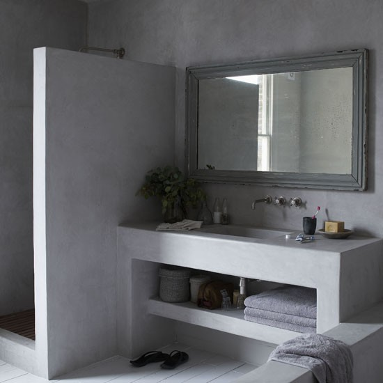 Trendy concrete bathroom | Bathroom ideas | Image | Housetohome.co.uk
