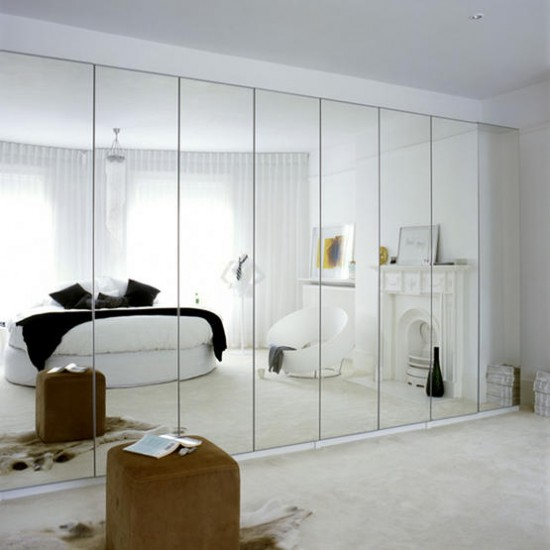 White mirrored bedroom