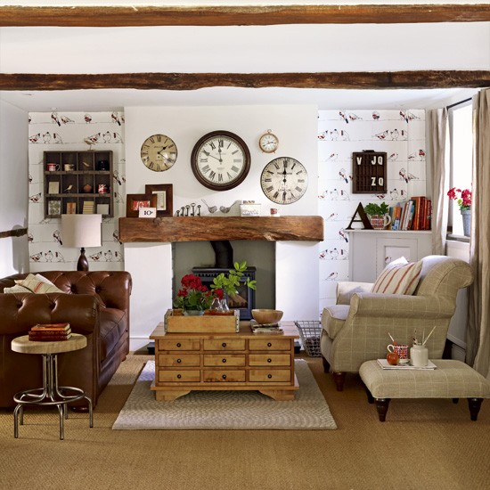 Quirky Country Living Room Living Room Designs Fireplace