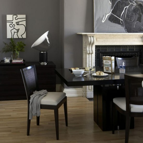 Grey dining room dining room designs table for Dark grey dining room