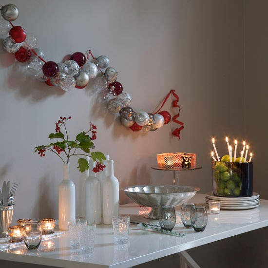 Baubles hung on wall modern christmas decorating ideas for Home christmas decorations uk