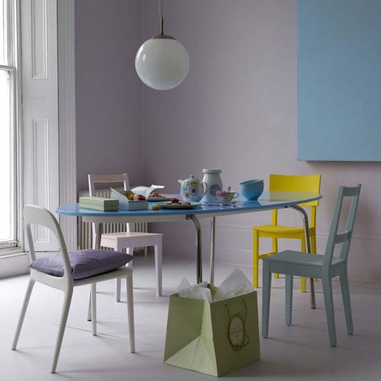 Dining room with painted chairs | Dining room | Image