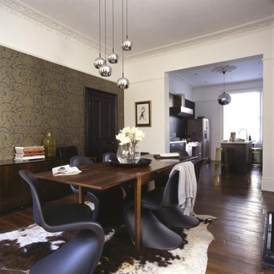 Dramatic dark dining room | Dining room ideas | Image