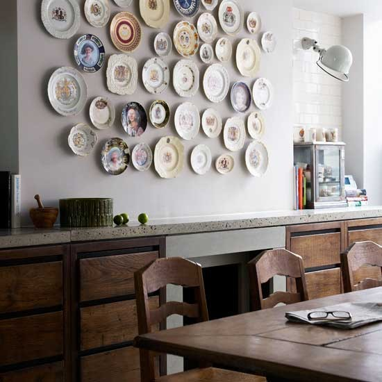 Dining room with eclectic display wall displays image for Dining room display
