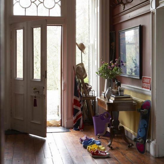 Traditional hallway with wooden floor hallway ideas for Traditional foyer decorating ideas