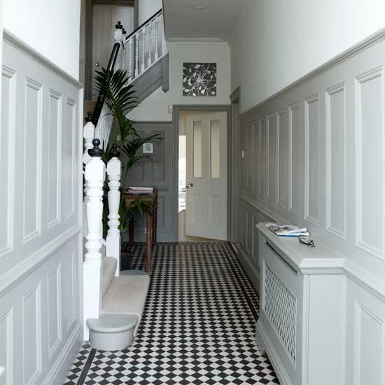 White hallway with panelling | Hallway ideas | Hallway | Image | housetohome.co.uk