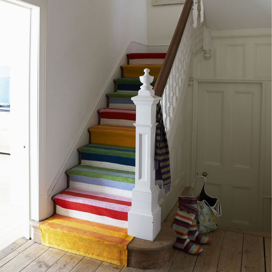 Modern Hallway With Stripy Stairs Ideas
