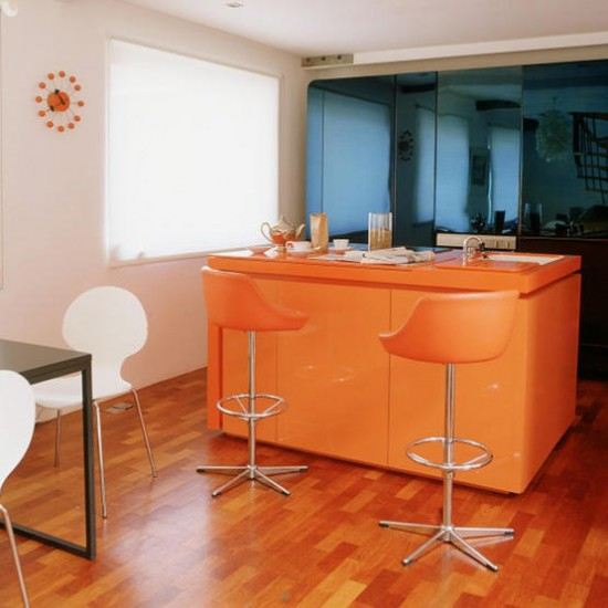 Modern kitchen with orange island | Kitchen ideas | Island unit | Image | Housetohome.co.uk