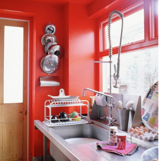 Bright orange kitchen  Kitchen design  Orange walls  Image