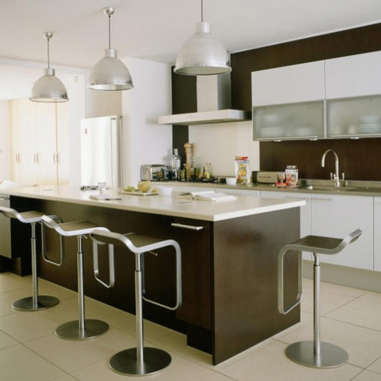 Sleek modern kitchen kitchen ideas pendant lights - Modern pendant lighting for kitchen ...