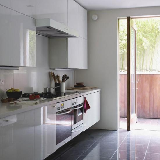 White Gloss Kitchen Grey Worktop