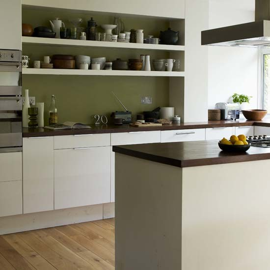 Calm white kitchen kitchen designs splashback for Modern green kitchen designs