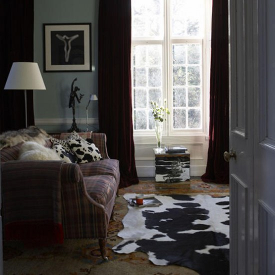 Grey modern living room | Living room idea | Cowhide | Image | Housetohome.co.uk