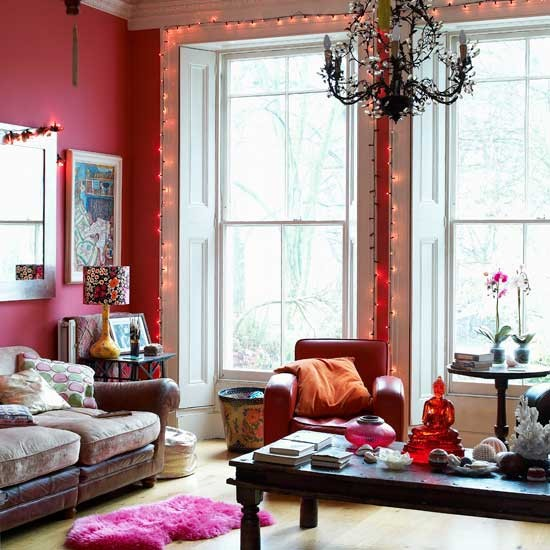 Red modern living room | Living room idea | Fairy lights | Image | Housetohome.co.uk