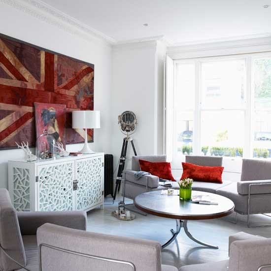 White living room with grey sofa | Living room idea | Sofa | Image | Housetohome.co.uk
