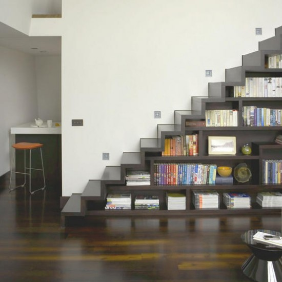 Wooden hallway staircase | Hallway idea | Bookcase | Image | Housetohome.co.uk
