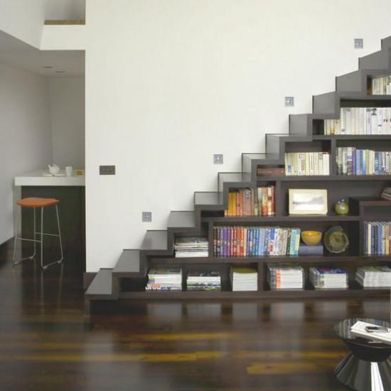 dark wood hallway flooring with bookshelf staircase hallway flooring