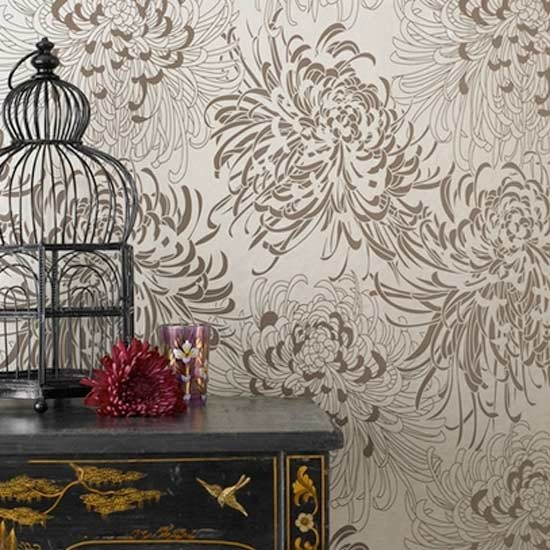 crysanthemum wallpaper by monsoon traditional wallpaper