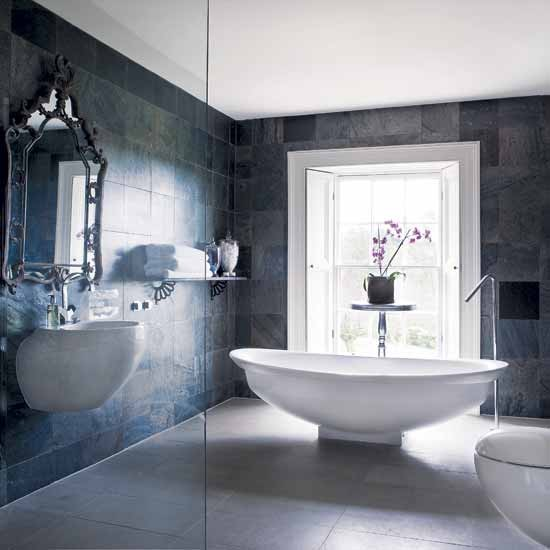 Glamorous grey bathroom | Bathroom designs | Bathroom tiles | Image | Housetohome