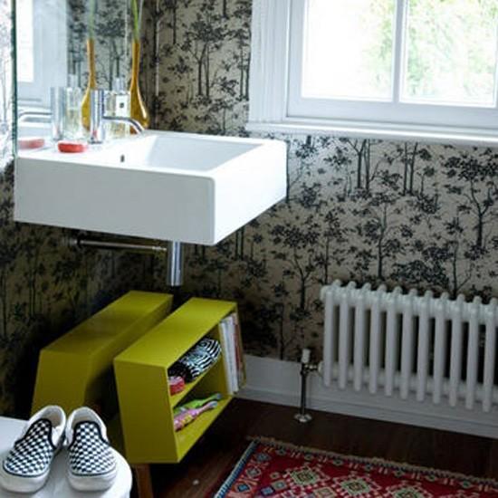 Modern eclectic bathroom | Bathroom idea | Wallpaper | Image | Housetohome.co.uk