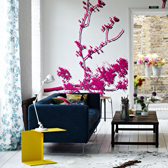 Pink wall stencils | Living room | Living rooms - best of 2010 | Living room design ideas | PHOTO GALLERY | Housetohome