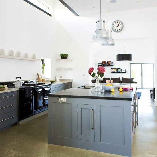 Modern Country Kitchen With Grey Island Units Grey Kitchen Colour Ideas