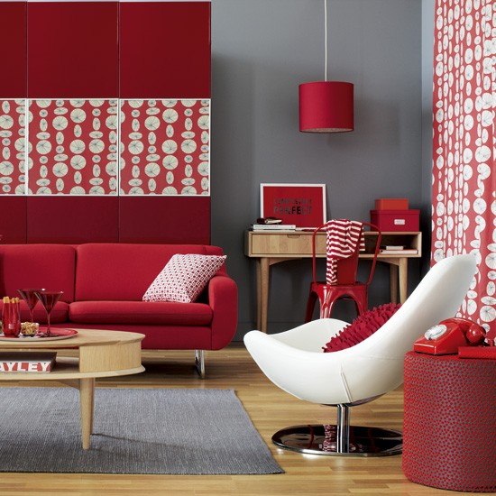 Modern red and grey living room how to decorate with red for Grey n red living room